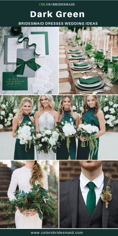 Wedding Styles Dark green bridesmaid dresses long and short, custom-made 500 styles, under all sizes and 150 color swatches, fast arrived. Emerald Green Weddings, Emerald Wedding Theme, Green Theme Weddings, Colour Themes For Weddings, Themed Weddings, Gray Weddings, Fall Wedding Colors, Wedding Ideas Green, Wedding Inspiration