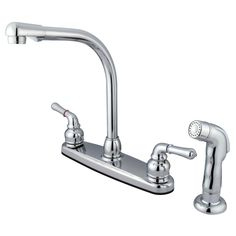 "Kingston Brass KB751SP Magellan 8"" High Arch Kitchen Faucet With Sprayer, Polished Chrome //Price: $99.95 & FREE Shipping over $99 //     #kingstonbrass"
