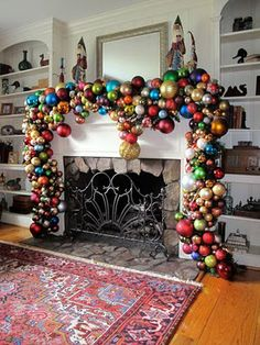 Massive mantlepiece decoration.  Crazy, but perhaps we can add a FEW small red baubles to our mantle.