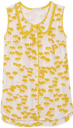 silk top with lovely yellow pattern
