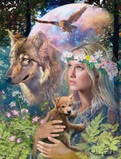 Beautiful Matted Forest Friends w/Wolf Foil Art Print~Affordable Art~8x10~Animal