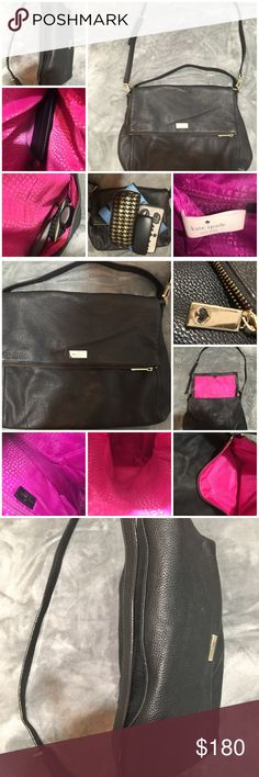 Awesome Kate Spade Black Leather Fold over Bag Such a cool purse pics show what all I had in there but obviously can fit wayyy more!! The pic where it's shooting downward And it is completely like shut just as is is full of all the stuff that is Shown but it still looks so like thin right ? 3rd pic I found out lol anyway i honestly don't even know where to begin starting to describe this bag is just awesome lol really tho!!!!! Convertible bag can be used as satchel shoulder cross body you…