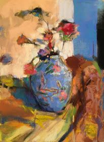 China Blue Vase with Roses. x Casey Klahn. Pastel Drawing, Pastel Art, Still Life Flowers, Chalk Pastels, Oil Pastels, Still Life Art, Blue China, Beautiful Paintings, Painting Inspiration