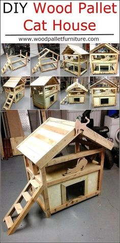 If anyone has a pet cat, but don't have enough money to buy a cat house for him/her; then it is not a big issue because anyone can make it at home by arranging the wood pallets. For the preparation of DIY wood pallet cat house, you need the saw for cuttin Diy Wood Pallet, Wood Pallet Furniture, Pet Furniture, Wood Pallets, Furniture Plans, Furniture Outlet, Discount Furniture, Feral Cat Shelter, Cat Shelters