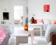 Scandinavian Styled Home, blankets & pillows