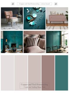 "What a colour combination - Farrow and Ball's Vardo and one of their new colours - Sulking room pink. Teal and dusky pinks have both been trending recently and you can see why. Bring the ""wow"" factor into your home with this vibrant pairing. Interior Design Color Schemes, Interior Design Pictures, Interior Design Books, Interior Design Software, Colour Combinations Interior, Teal Rooms, Teal Living Rooms, Living Room Color Schemes, Pink Room"