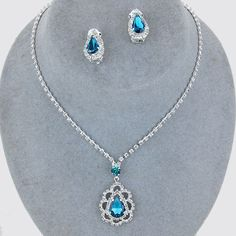 Bridal Wedding Prom SILVER & BLUE ZIRCON Rhinestone Costume Necklace/Earring Set #ChristinaCollection