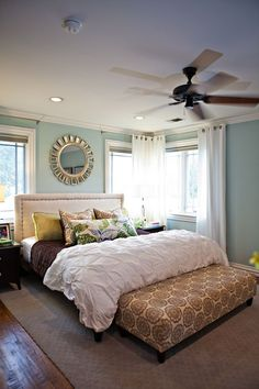 "Sherwin Williams paint in ""Rainwashed""; pretty - My-House-My-Home...like the idea of this, especially the curtains for corner windows."
