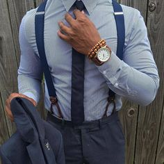 I understand & wish to continue How To Wear Suspenders, Blue Groomsmen Suits, Stylish Men, Men Casual, Gentleman Style, Gentleman Fashion, Mens Clothing Styles, Men's Clothing, Suit And Tie