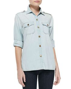 The Perfect Distressed Denim Shirt by Current/Elliott at Neiman Marcus.