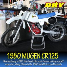 This #Mugen #CR125 now on display at #DHYMotorsports is a treasure of American motocross. It was a hand made bike built by the son of #Honda founder Soichiro Honda. There was an extremely limited production run, and nowadays they are very hard to find. American #MX superstar Johnny O'Mara made a name for himself and the bike by riding it in the AMA Motocross Nationals in 1980. #dhynj