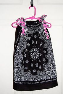 15 min. Bandana Dress ~ How adorable is this?! I have a tote full of bandanas that I planned to make tons of quilts out of but lost inspiration. I think I found a new idea! ;)