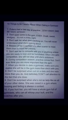 10 Things To Know When Dating a Gymnast😂 16 yr old gymnasts Funny Gymnastics Quotes, Inspirational Gymnastics Quotes, Gymnastics Facts, All About Gymnastics, Gymnastics Problems, Gymnastics Workout, Gymnastics Pictures, Rhythmic Gymnastics, Gymnastics Stuff