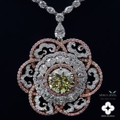 'Imperial Diamond Necklace' is designed by award-winning designer Reena Ahluwalia and commissioned by Venus Jewel - World Leaders in Solitaires. Materials: Canadian green diamond from Ekati Mine, purplish-pink Argyle Pink Diamonds and white diamonds set in 18k white and rose gold. The diamond shapes used in this necklace are round brilliant, oval-cut, pear-shape and marquise-cut.