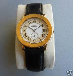 Cartier Must de Vermeil Armbanduhr Damen Lederband Quartz Silber 925 Plaque Gold