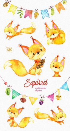 This Squirrels and bunting banners clipart set is just what you needed for the perfect invitations, craft projects, paper products, party
