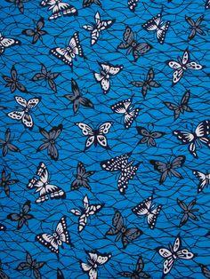 African Textiles Real Wax Print Blue Butterfly Nigerian Ankara Fabric rw090971_1