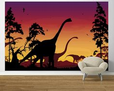 Dinosaur Landscape Red Violet Pre Pasted - Wall Sticker Outlet