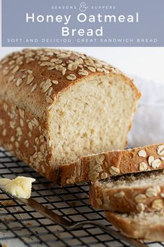 A lovely, moist bread, flavoured with rolled oats and honey, with a bit of whole wheat flour as well. Keeps fresh for days and makes great sandwich bread! Healthy Bread Recipes, Sandwich Bread Recipes, Baking Recipes, Homemade Sandwich Bread, Chef Recipes, Soup Recipes, Oatmeal Bread Recipe, Homemade White Bread, Homemade Breads