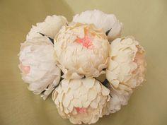 Bridal bouquet,paper flower, peonies paper flower,wedding bouquet,paper bridal bouquet,flower paper,cream peonies, white peonies paper. $45.00, via Etsy.