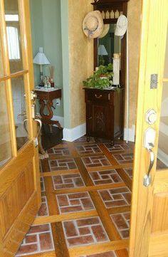 8 Inspirational Photos of Gorgeous Brick Flooring: Brick Kitchen Flooring With Inlaid Pine Beams Linoleum Flooring, Brick Flooring, Basement Flooring, Concrete Floors, Kitchen Flooring, Cork Flooring, Rubber Flooring, Flooring Ideas, Bathroom Flooring
