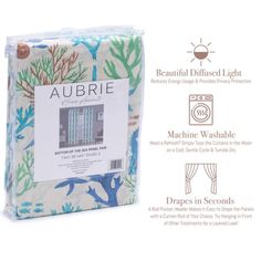 """Give your home a fresh new look with the Bottom of the Sea window curtains from Aubrie Home Accents. This pair of curtain panels features a fun beachy pattern of sea life that'll spruce up your bedroom, living room or dining room. Each panel measures 38"""" x 84"""" for a total width of 76 inches. The rod pocket header allows them to easily slip through for quick hanging. These curtains are made from polyester and are machine washable for easy care. Curtain Panels, Window Curtains, Fish Print, Diffused Light, Rod Pocket, Home Accents, Header, Red Green, Nautical"""