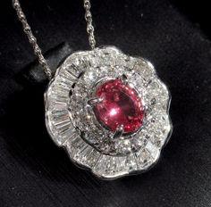 INCREDIBLY BEAUTIFUL Certified Padparadscha Sapphire & Diamond Pendant