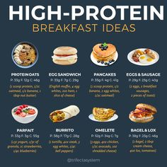 Healthy Desayunos, Healthy High Protein Meals, High Protein Breakfast, High Protein Low Carb, High Protein Recipes, Healthy Meal Prep, Healthy Recipes, Healthy Options, What Food Has Protein