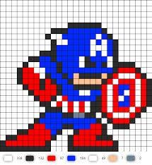 Captain America - melting bead or cross stitch Easy Cross Stitch Patterns, Fuse Bead Patterns, Simple Cross Stitch, Perler Patterns, Beading Patterns, Pixel Art Templates, Perler Bead Templates, Perler Bead Art, Perler Beads