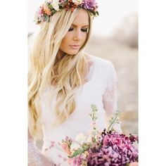 Hair Garland Flower ❤ liked on Polyvore featuring accessories, hair accessories, floral garland, floral crown, flower garland, flower hair accessories and flower crown