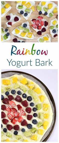 Rainbow fruit frozen yogurt bark recipe - fun and easy recipe for kids - perfect for healthy snacks and breakfast - Eats Amazing UK