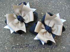 School Uniform pigtail bows navy blue Back To School girls hair bow clips khaki navy