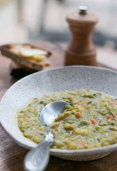 Split Pea soup - use scant 1 tsp of ground thyme, 6 pieces bacon (thick), and 1 tsp salt (at end). Only 1 potato.