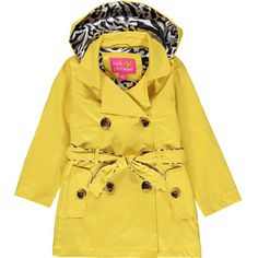 Pink Platinum Little Girls Hooded Animal Accents Lining Trench Raincoat Jacket, Yellow, 6X