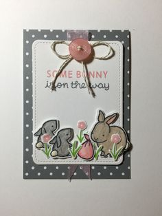 """Baby shower card. Designed by Nicole Magourik. I thought it was so cute I had to make it. All stamps from Lawn Fawn """"Hello Baby"""""""