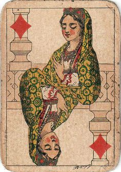 #PlayingCardsTop1000 - Travel Patience Russia design by Adolf I. Sharleman queen of diamonds