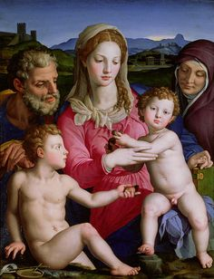 JOAQUIN , ANA , LA VIRGEN , EL NIÑO Y SAN JUAN B.- BRONZINO Bronzino is a 16th century artist.  Here we have a different rendition of the Holy Family. In the middle the Blessed Virgin Mary, to each side of her, her parents whose names according to tradition are Joachim and Anna, the Christ Child on Mary's lap, and his cousin, John the Baptist.  c. 1550AD