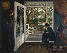 By the Open Door, by Nikolai Astrup on Curiator, the world's biggest collaborative art collection. Maurice Denis, Henri Rousseau, Trondheim, Illustrations, Illustration Art, Hokusai, Traditional Landscape, Door Opener, Old Master