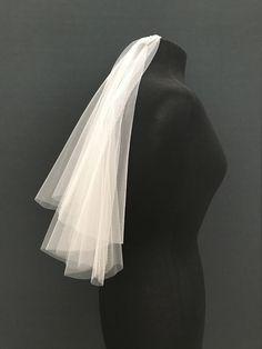 37e9b3c04 Elbow length veil with blusher, raw edge, drop veil, no gathers at comb,  two-tier, plain edge, bridal veil, short veil, first communion veil