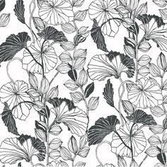 "Found it at AllModern - Black and White Leaf Outline 27' x 27"" Floral and Botanical Roll Wallpaper"