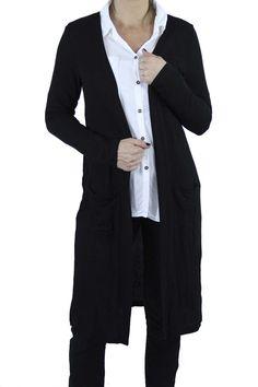 Saco Ore Negro. Saco largo con bolsillos, ideal para usar abierto. Aroa