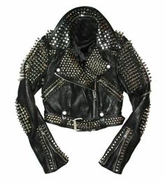 Women Silver Studded Leather Jacket Spiked Silver Color Studs Real Leather Black Leather Jacket Studded Jacket made with 100 % Genuine Top Quality Cowhide Leather Silver Studded High Quality Studs. Each securely added by hand Cropped, Vintage - Studded Leather Jacket, Biker Leather, Leather Men, Black Leather, Cowhide Leather, Real Leather, Soft Leather, Black Belt, Leather Shoes