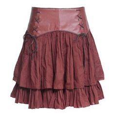Targaryen Nights Short Brown Steampunk Skirt $61.00 AT vintagedancer.com