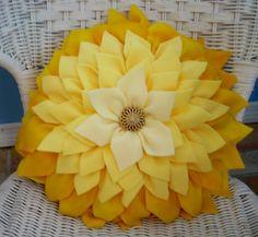 Shades of yellow,  fleece,  dahlia pillow