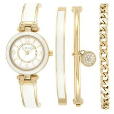 Anne Klein Crystal Dial Bangle Watch & Bracelet Set, 28mm (520 BRL) ❤ liked on Polyvore featuring jewelry, white multi, white jewelry, white bangle bracelet, adjustable bangle bracelet, crystal stone jewelry and sparkle jewelry