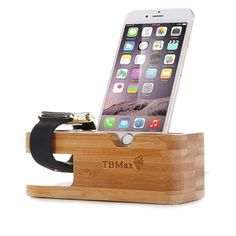 Apple Watch Stand iPhone Stand Bamboo Wood Charging Stand Dock Charge Station  #TBMax