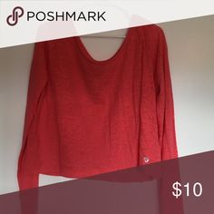 🔴 Sheer Colosseum Shirt Sexy wide neck, semi sheer top-perfect paired with a long tank!! Bright coral color Colosseum Tops Tees - Long Sleeve
