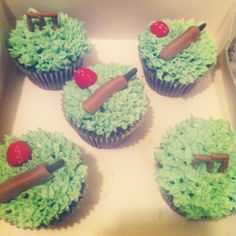 Cricket cupcakes by Amber Rose Cakes Cricket Cake, Amber Rose, Rose Cake, I Want To Eat, Cake Ideas, Fondant, Cake Decorating, Birthdays, Cooking Recipes
