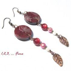 Boucles d'oreilles 'rubis' par 123 fimo