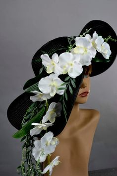 e5fca2804f5 Items similar to Black Orchids Hat Wedding Hat Woman Hat Formal Hat Tea  Party Church Kentucky Derby Hat Bridal Coctail Hat Couture Fascinator Bridal  Hat on ...